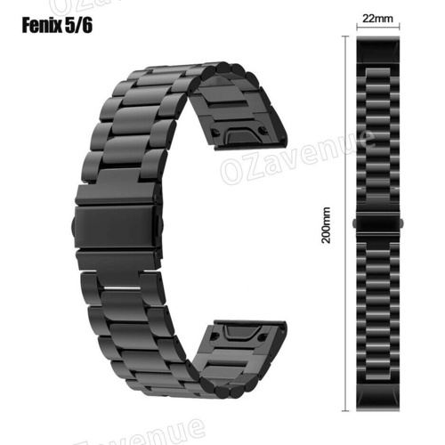 Metal Quick Fit Watch Band Strap For Garmin Fenix 5 6 5s 5x 6x Black Melbourne